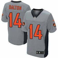 Nike Elite Men's Cincinnati Bengals #14 Andy Dalton Grey Shadow NFL Jersey $129.99