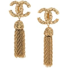 Chanel Vintage CC Fringe Earrings ❤ liked on Polyvore featuring jewelry, earrings, accessories, chanel, jew, fringe jewelry, fringe earrings and earring jewelry
