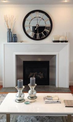 Chic Ways to Decorate Your Fireplace Mantel in 2019 Home Decor modern mantel decor ideas - Modern Decoration Modern Fireplace Mantles, Farmhouse Fireplace, Home Fireplace, Fireplace Remodel, Fireplace Surrounds, Fireplace Design, Decorative Fireplace, Mirrors For Above Fireplace, Above Fireplace Ideas