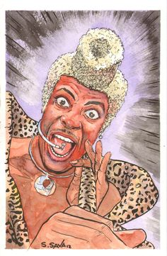 Loved Ruby Rhod in the Fifth Element! He was SO green! Watercolors and inks on 5x8 watercolor paper