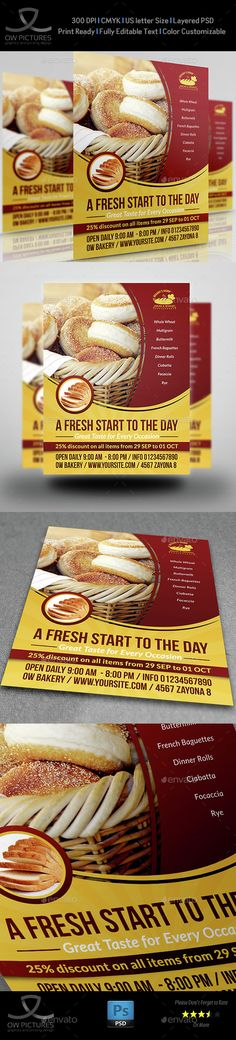 Bakery Flyer Template PSD Vol.3. Download here: http://graphicriver.net/item/bakery-flyer-template-vol3/15308445?s_rank=53&ref=yinkira