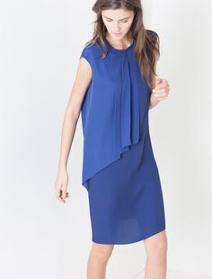 Sheath dress with pleated inset, cornflower blue - CANAZEI MAX&Co.