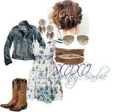 Country dress, jacket, boots