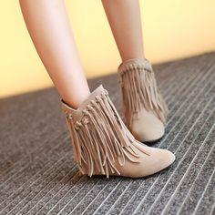Tassel Wedges Short Boots Women Shoes