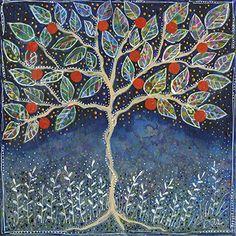 5b4e1cc56cac7 Pretty Apple Tree by Dar Hosta James Tree Art, Mixed Media, Collage,  Landscape