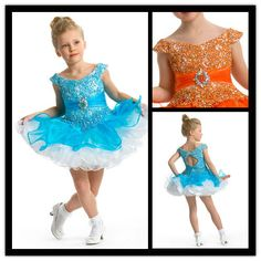 2013 Cap Sleeve Short Red/Blue Puffy Dresses For Girls Of 10 Years Old G099 $55~$95