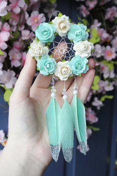 Mint Car Accessory For Women, Dreamcatcher, Rearview Mirror Accessory, Car Charm, Boho Dream Catcher Decor, Dream Catcher Boho, Dream Catchers, Rear View Mirror Accessories, Car Accessories For Women, Valentine Day Gifts, Valentines, Diy Car, Holographic Glitter