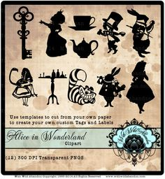 Alice in Wonderland Silhouette, March Hare, White Rabbit, Alice in Wonderland Clipart, png    Create gorgeous gift tags, or labels and other