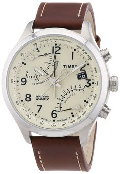 Timex Intelligent Quartz Fly Back Chronograph, Cream Dial, Caramel Brown Strap - T2N932