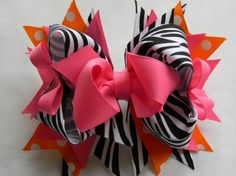 Hot pink Zebra boutique hair bow, Girls hair bow | Meylah