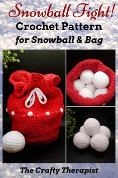 Snowball Fight in Bag Crochet Pattern Who says snowball flights need to be cold and wet? Not anymore, now you can crochet your own soft snowball fight in a bag! Crochet Hot Pads, Bag Crochet, Crochet Slippers, Cute Crochet, Crochet Toys, Diy Crochet Gifts, Crochet Christmas Ornaments, Christmas Crochet Patterns, Christmas Knitting