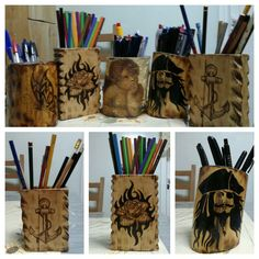 Pencil cases from logs with pyrography.