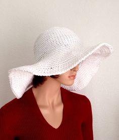 Large Brimmed Cotton Sun Hat. Crochet Beach Hat by Africancrab