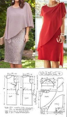 El patrón koktelnogo los vestidos para las señoras pomposas (la Costura y el corte) Sewing Dress, Dress Sewing Patterns, Sewing Clothes, Clothing Patterns, Doll Clothes, Fashion Sewing, Diy Fashion, Fashion Dresses, Womens Fashion