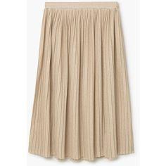 MANGO Metallic Pleated Skirt (€45) ❤ liked on Polyvore featuring skirts, wet look skirt, knee length pleated skirt, mango skirts, elastic waist skirt and pleated skirt