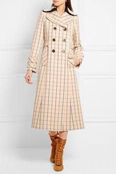 Miu Miu - Guipure lace-trimmed checked wool coat ba6eeed18eeaa