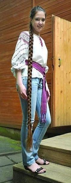Ukrainian Rapunzel winner of a Long hair contest Her hair is 182 cm long Face Shape Hairstyles, Sleek Hairstyles, Braided Hairstyles, Long Indian Hair, Long Shag Haircut, Rapunzel Hair, Really Long Hair, Braids For Long Hair, Beautiful Long Hair