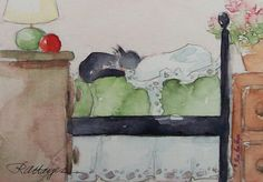 Cat Sleeping on Daybed Original Watercolor by RoseAnnHayes on Etsy