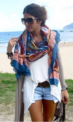 Boho style outfit with blue multi-color scarf.