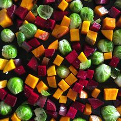 Simple roasted veggies: sweet potatoes, brussels sprouts, and beets are an easy way to get a wide assortment of essential nutrients into any meal.