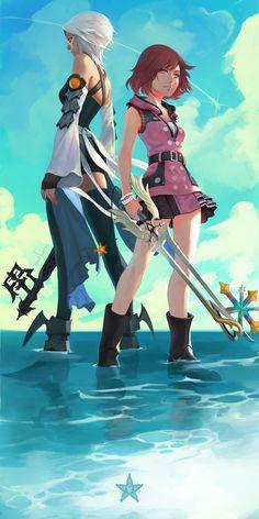 Kingdom Hearts Aqua and Kairi Kingdom Hearts Games, Kingdom Hearts Fanart, Disney Kingdom Hearts, Terra Kingdom Hearts, Kingdom Hearts Keyblade, Kingdom Hearts Characters, One Punch Man, Video Game Art, Video Games