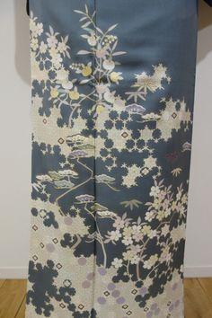 銀座【B-1309】訪問着 藍鼠色 亀甲に桜や橘 - 銀座きもの青木|長く大切に着続けて頂きたい上質な着物や帯 |ONLINE SHOP