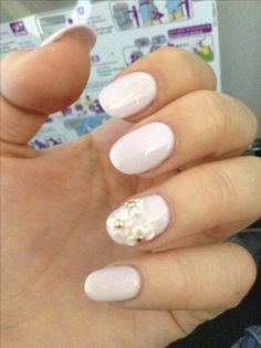 Light Lilac with Jeweled Flowers... Natural nail, rounded with acrylic. Made in MX
