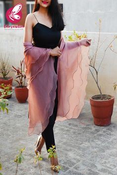 Shop Mauve Pure Organza Three-Tier Ruffle Stole - Stoles Online in India Indian Fashion Dresses, Indian Bridal Outfits, Dress Indian Style, Indian Designer Outfits, Pakistani Dresses, Fashion Outfits, Pakistani Bridal, Fashion Styles, Sleeves Designs For Dresses
