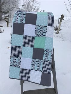 Mint grey and white baby boy quilt hand quilted