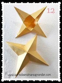 A Arte de Ensinar e Aprender: Estrela 3D em dobradura Table Lamp, 3d, Paper, Home Decor, Stars, Teaching, Diy Creative Ideas, Crafts, Creativity