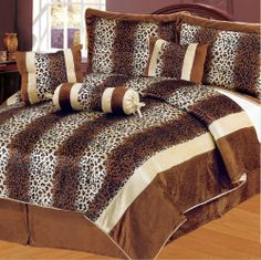 "7Pcs King Leopard Brown Micro Fur Comforter Set by KingLinen. $69.99. Leopard print 2 tone stripes on soft and cozy micro fur. Great for animal lovers.   3 decorative pillows included.FeaturesSize: KingColor: Brown/BeigeThis set includes:1  Comforter (101""x86"")2  Shams (20""x36"")1  Bedskirt(78""x80""+14"")3  Decorative Cushions. Save 70%!"