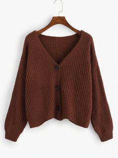 Shop Single Breasted V-Neck Sweater Coat online. SHEIN offers Single Breasted V-Neck Sweater Coat & more to fit your fashionable needs. Brown Sweater, Sweater Coats, Sweater Outfits, Sweater Cardigan, Sweater Fashion, Romwe, Pull Marron, Fashion News, Fashion Brands