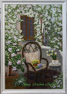 Ribbon Embroidered Wicker Chair.