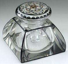 c1920 enamelled glass deco inkwell probably adolf beckert friedrich pietsch