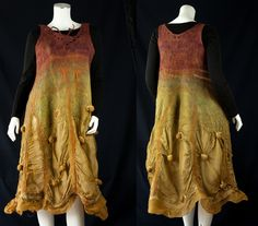 Wearable fiber art dress - reversible woman clothing 2 in 1- fairy purple green - nature gold brown silk merinos wool - Size S to M. €495,00, via Etsy.