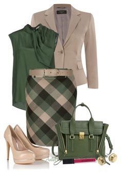 """Hunter Green & Khaki"" by andrea-hoss-bickerton ❤ liked on Polyvore featuring Weekend Max Mara, CÉLINE, Salvatore Ferragamo, Maison Boinet, Lipsy, 3.1 Phillip Lim, Michael Kors and Smashbox"