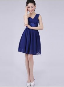 YASMINE - A-line Knee length Chiffon One shoulder Chinese Cheap Wedding Party Dress