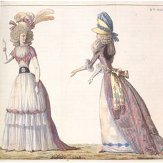 This 18th Century French Fashion Plate shows how fashions were altered during the Revolution to reflect political beliefs.  These ladies are clearly Republicans, with their tricolor striped gowns and cockades pinned to their hats and the bodices of their walking dresses.