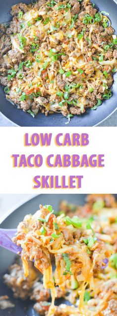 LOW CARB TACO CABBAGE SKILLET Beef Recipe Low Carb, Ground Beef Keto Recipes, Ground Beef And Cabbage, Low Carb Tacos, Low Carb Taco Salad, Cabbage Casserole, Taco Casserole, Keto Taco, Diet Recipes