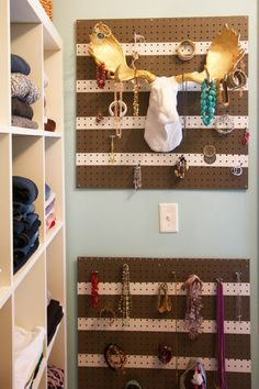 This spacious closet uses Ikea Expedit units with a few modifications and pegboards for accessories.