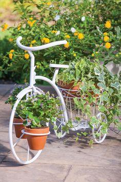 Outdoor Garden: Bloom Collection  Powder Coat Indoor-Outdoor White Metal Tricycle Planter  $89.00  $130.00 32% off