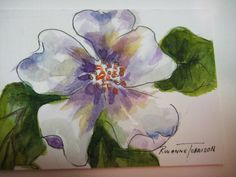 White Flower ACEO Print of Watercolor painting by watercolorsNmore, $4.00