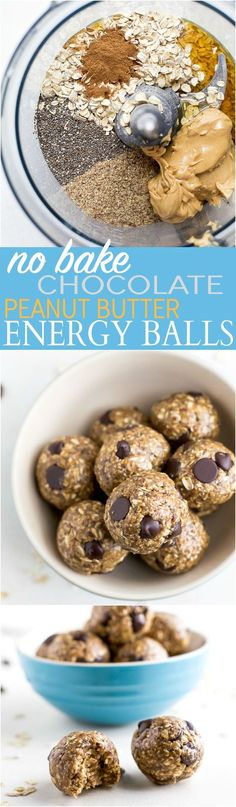 healthy meals food recipes diiner cooking These Simple No Bake Chocolate Peanut Butter Energy Balls make the perfect snack, breakfast, or even dessert! They're packed with protein and taste like a Peanut Butter Cookie! Protein Snacks, Protein Bites, Protein Recipes, Date Protein Balls, Healthy Protein Balls, Protein Energy, Protein Cake, Protein Muffins, Protein Cookies