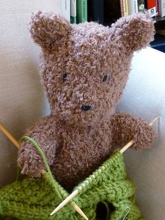 Meet Barrison! She's a cuddly teddy bear knit in Berroco Nanuk & she loves to travel.  (free pattern available on www.berroco.com)
