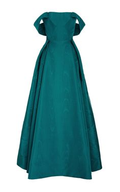Shop Off the Shoulder Moire Ottoman Gown. This **Zac Posen** gown features a straight across neckline, off the shoulder sleeves, and pleated detail on the skirt. Ball Gown Dresses, Prom Dresses, Club Dresses, High Fashion Outfits, Online Dress Shopping, Shopping Sites, Festa Party, Celebrity Dresses, Celebrity Style