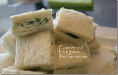 Ever had boring cucumber sandwiches? These are NOT boring: CUCUMBER HERB BUTTER for tea sandwiches. http://tastingspoons.com/archives/10225
