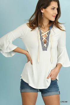 Angel Sleeve Top with Drawstring Neckline  Cream and Denim    Very Soft and  Comfortable!      | Shop this product here: http://spreesy.com/ddstallons/101 | Shop all of our products at http://spreesy.com/ddstallons    | Pinterest selling powered by Spreesy.com