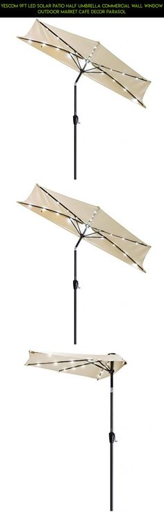 Yescom 9Ft LED Solar Patio Half Umbrella Commercial Wall Window Outdoor Market Cafe Decor Parasol #technology #fpv #parts #products #kit #tech #racing #decor #outdoor #camera #drone #umbrella #plans #shopping #gadgets