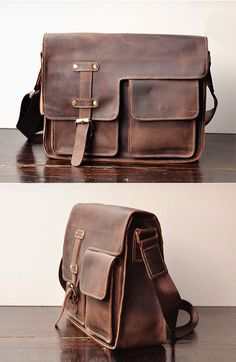 Leather   wood briefcase messenger bag. Hand stitched dark brown ...