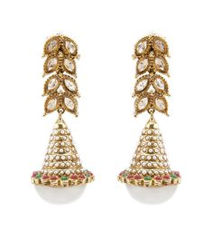 Gold Kundan & Pearl Work Alloy Earrings #partyrange #jewellery #clutches #sarees